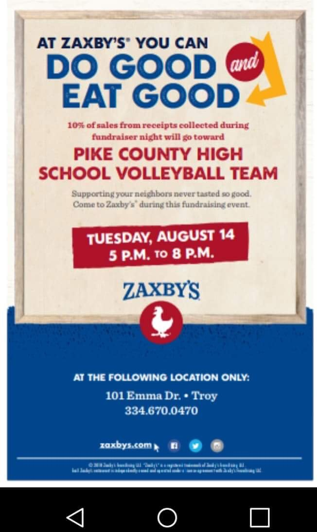 Volleyball Zaxby's Fundraiser