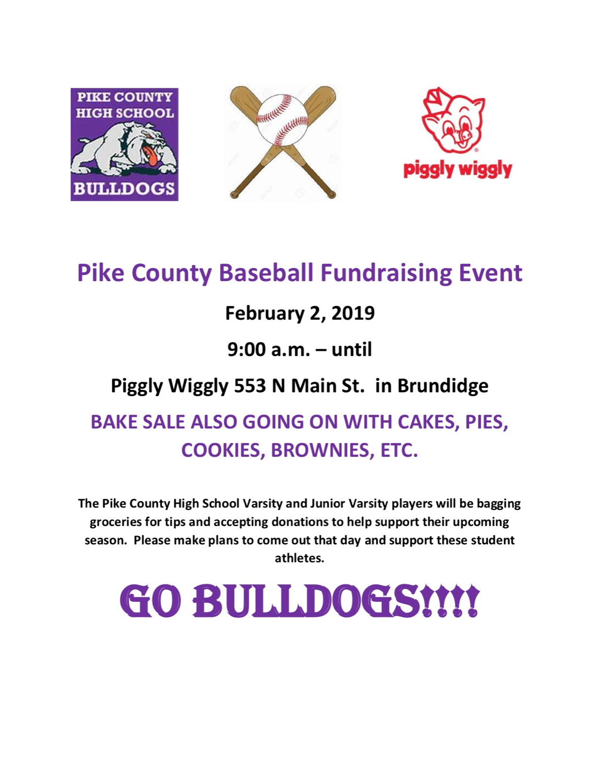 PCHS Baseball Fundraising Event–February 2nd