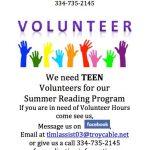 Teen volunteers needed!