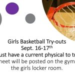 2019-2020 Girls Basketball Try-out Info