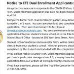 CTE Dual enrollment applications
