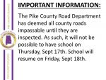 Pike County Schools Closed on Thursday