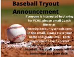 PCHS Baseball Tryout Announcement