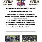 FCA: ETBU Football Game & Tailgate