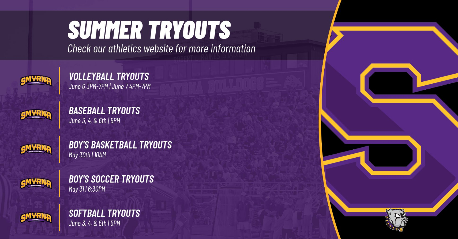 Summer Tryout Information