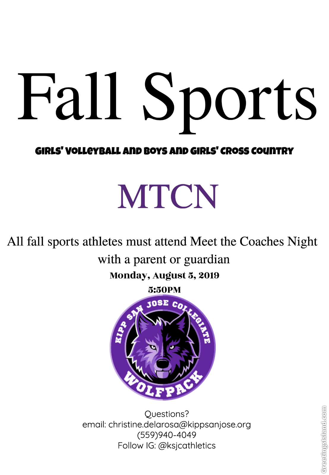 Meet the Coaches Night and Try Out Information for '19-'20 School Year