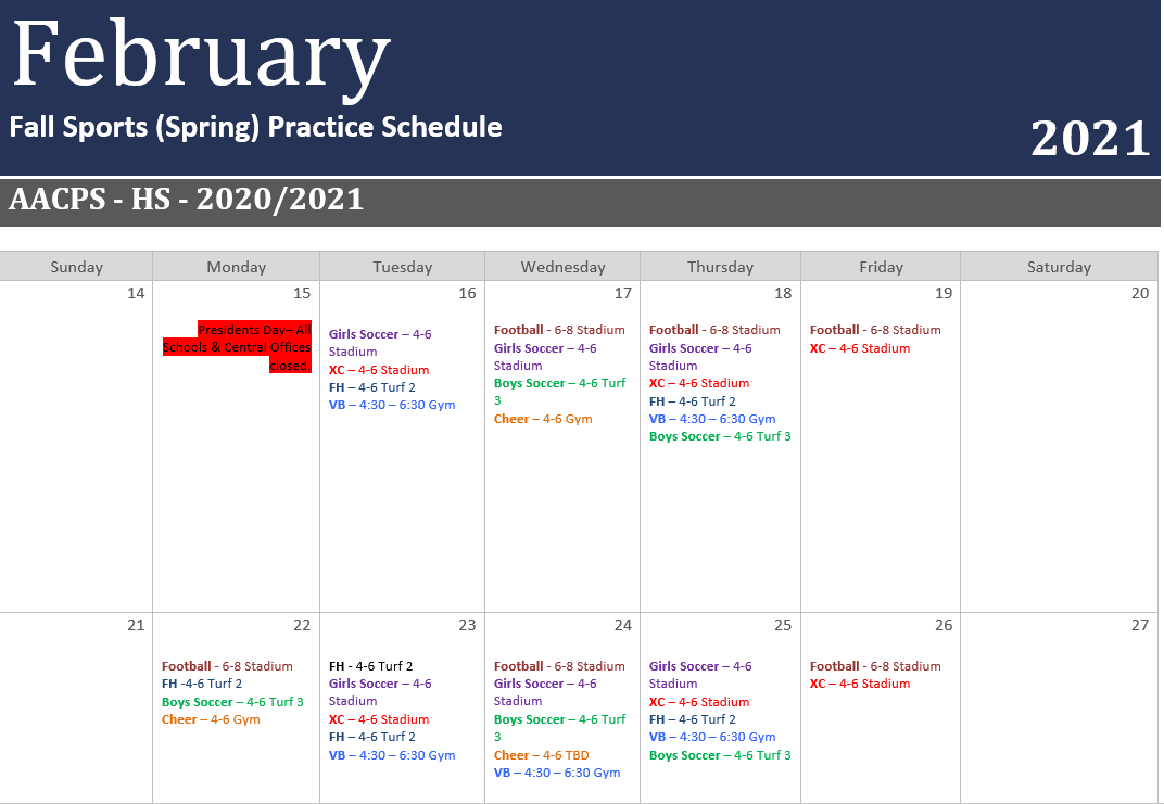 Fall Sports (Spring) 3-week Practice Schedule