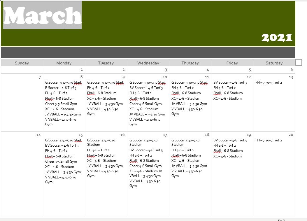 Updated March Calendar