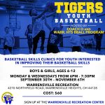 Youth Basketball Skills Clinics Beginning Sept. 30th