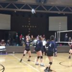 Volleyball player about to hit the ball.