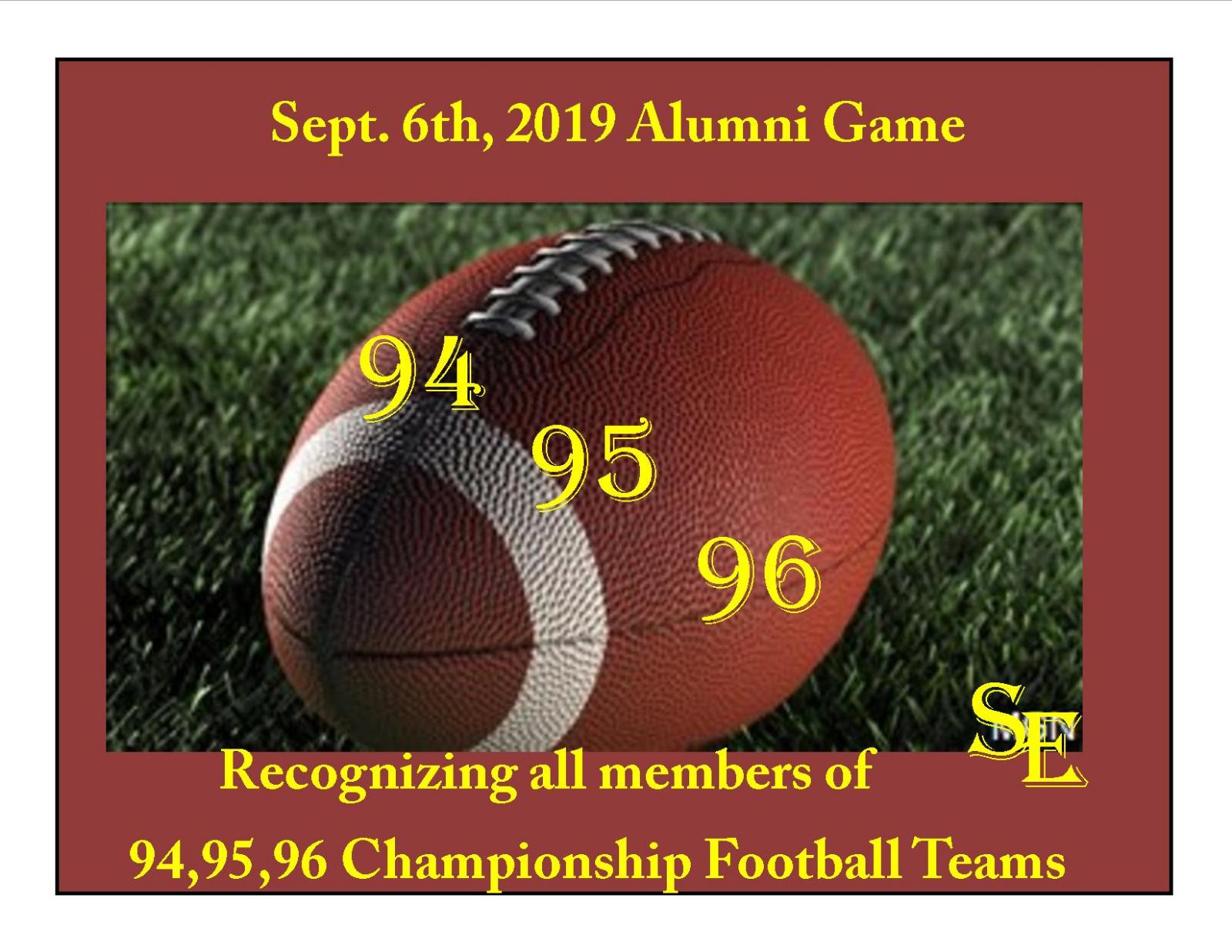 Friday Sept. 6th 2019 Alumni Night!!!