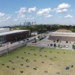 Adamson drone takes great picture of the Dallas Skyline from the Adamson football practice field