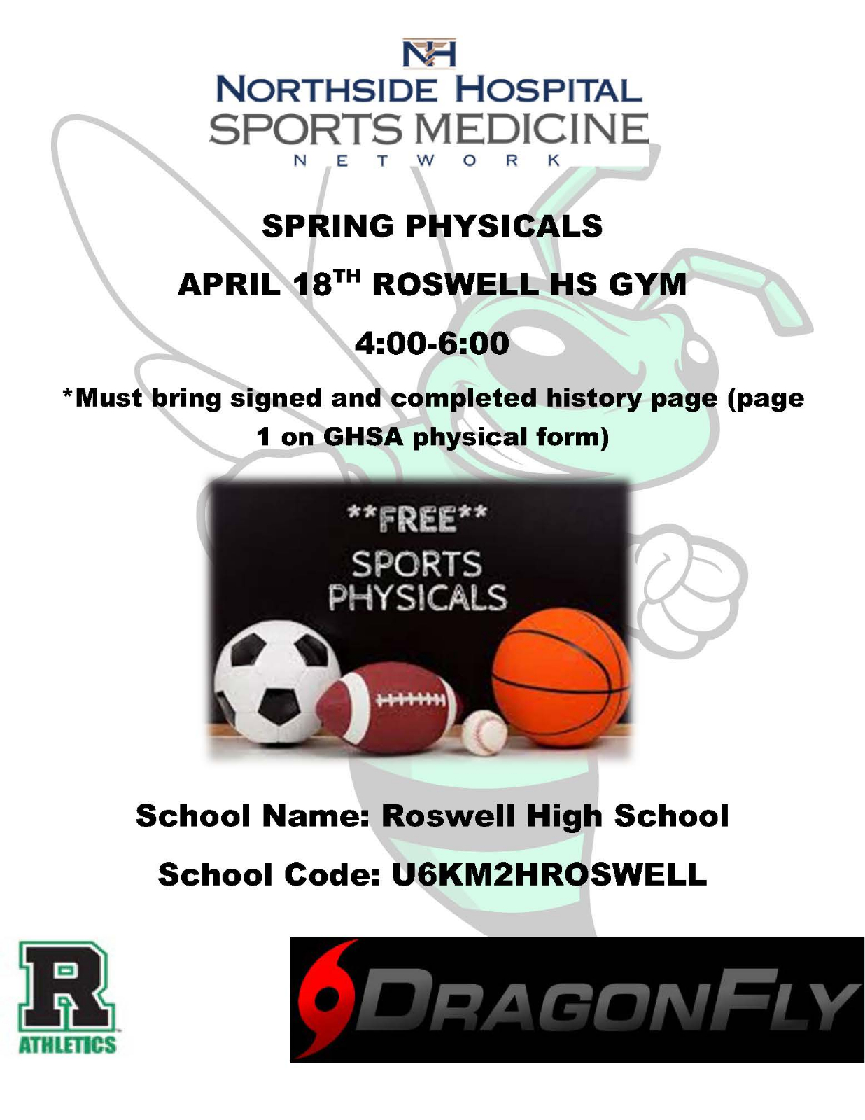 Free Physicals April 18th @ Roswell