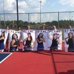 Lady Blue Flame Tennis Seniors Receive Their Banners