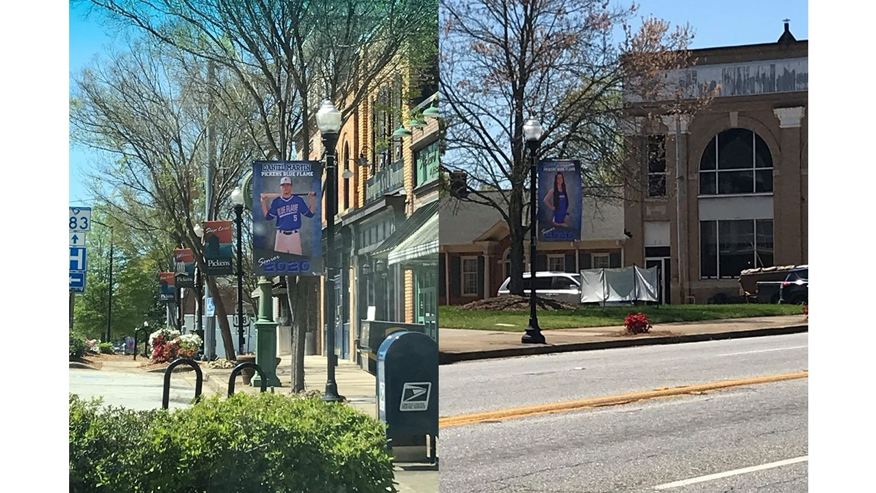 Senior Spring Sport Banners Displayed Downtown Pickens