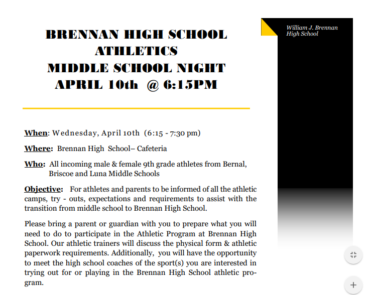 BRENNAN MIDDLE SCHOOL NIGHT!!!!