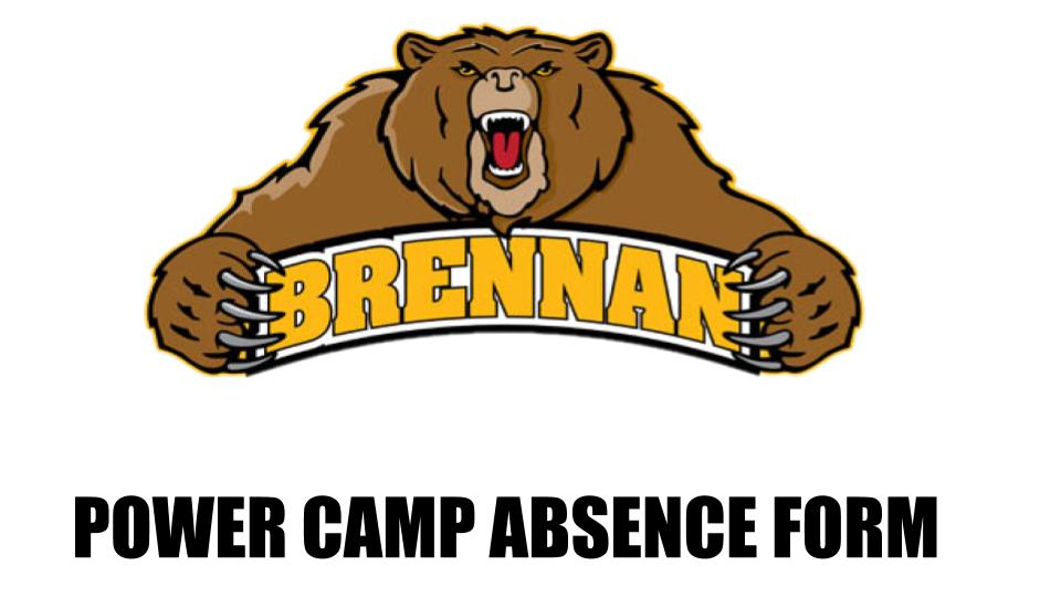 POWER CAMP ABSENCE FORM (FOOTBALL)