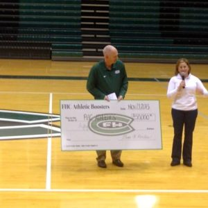 Athletic Booster President Gina Hoiles Presents $50,000 check to Athletics