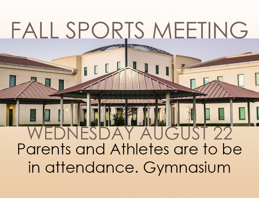 FALL SPORTS PARENT-ATHLETE MEETING IS THIS WEDNESDAY
