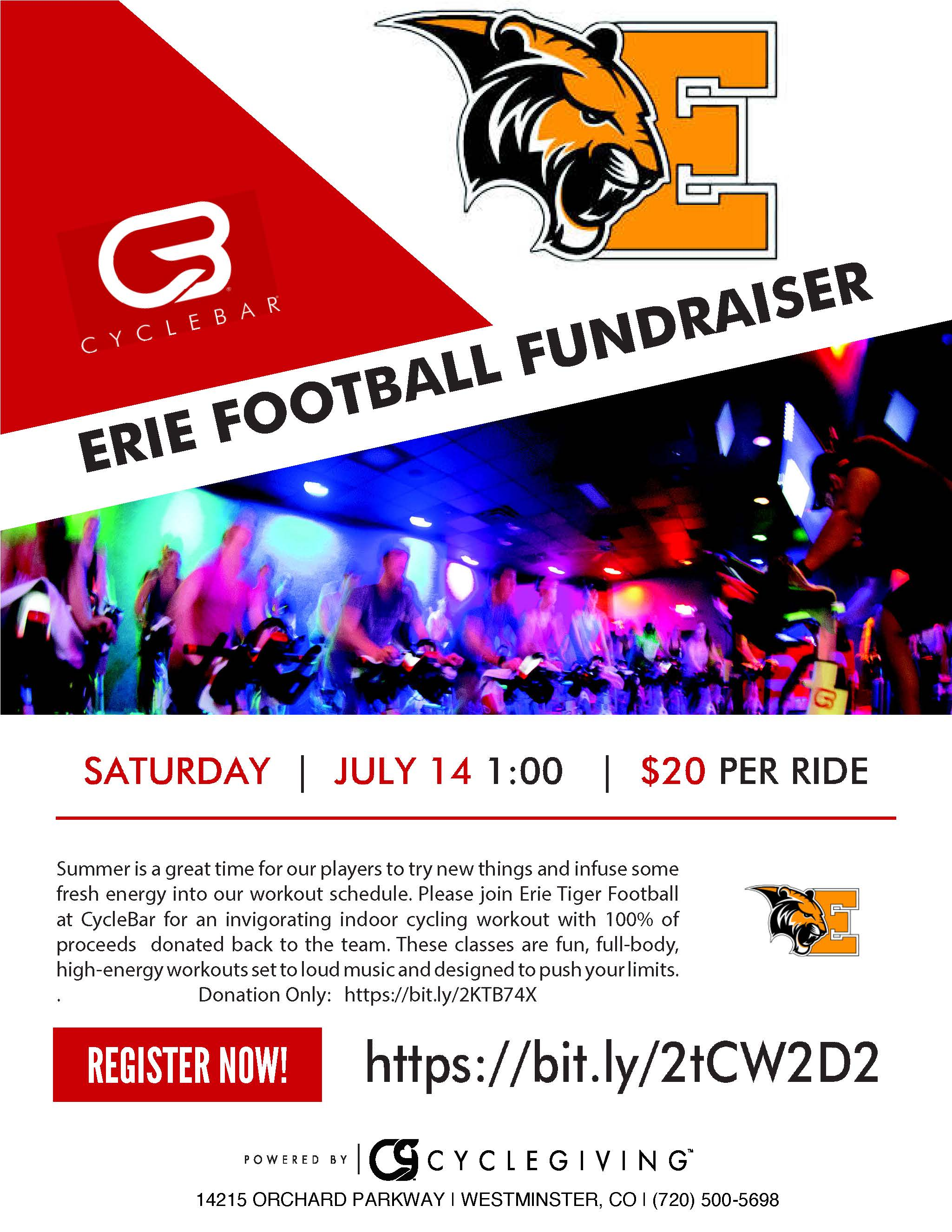 Erie HS Football CycleBar Ride