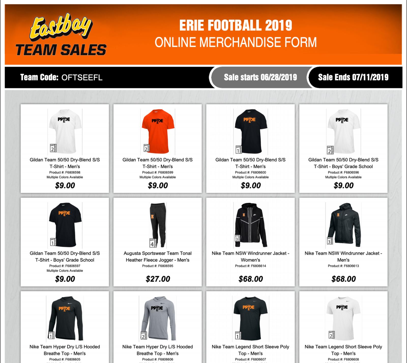 Erie High School Football Apparel Store