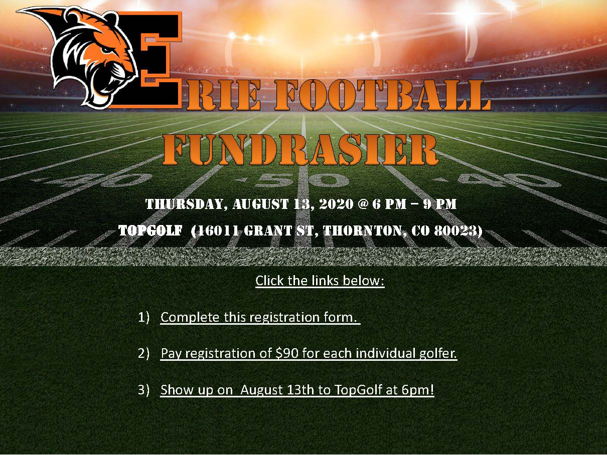 Erie HS Football Topgolf Event: August 13th – 6-9pm