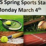 High School Spring Sports start 3/4