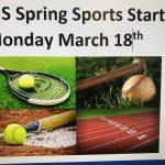 Middle School Spring Sports Start 3/18