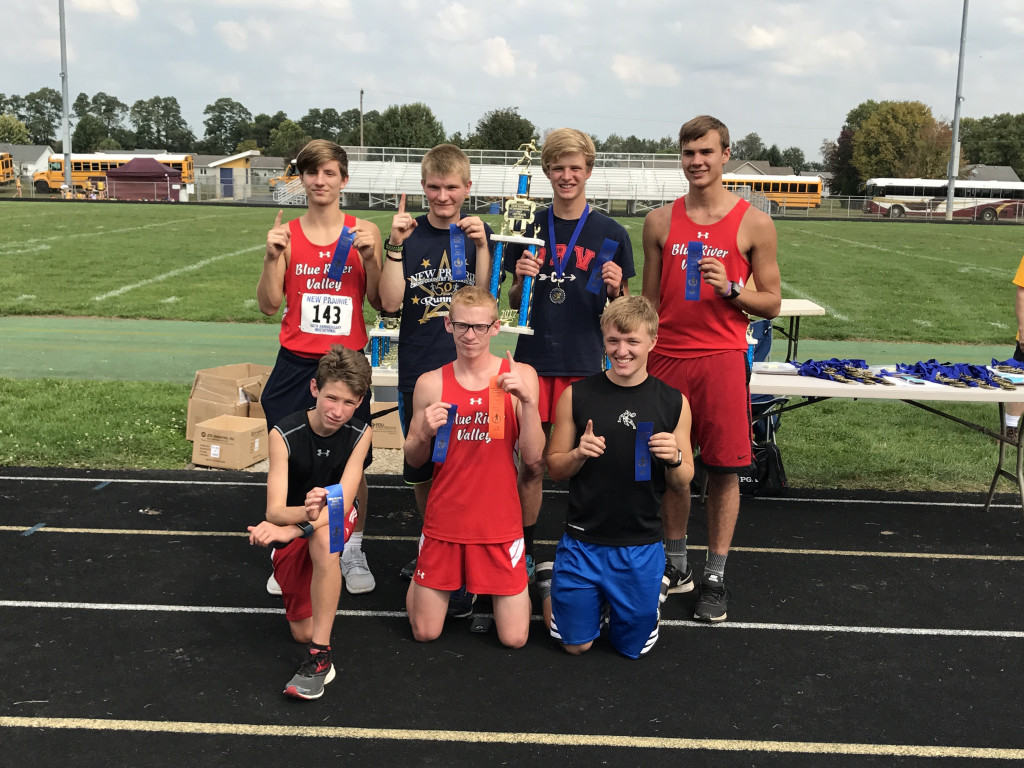 Blue River Valley High School Boys Varsity Cross Country finishes 1st place