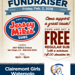 Jersey Mikes Fundraiser for Girls Water Polo, Feb. 2nd 4pm-9pm