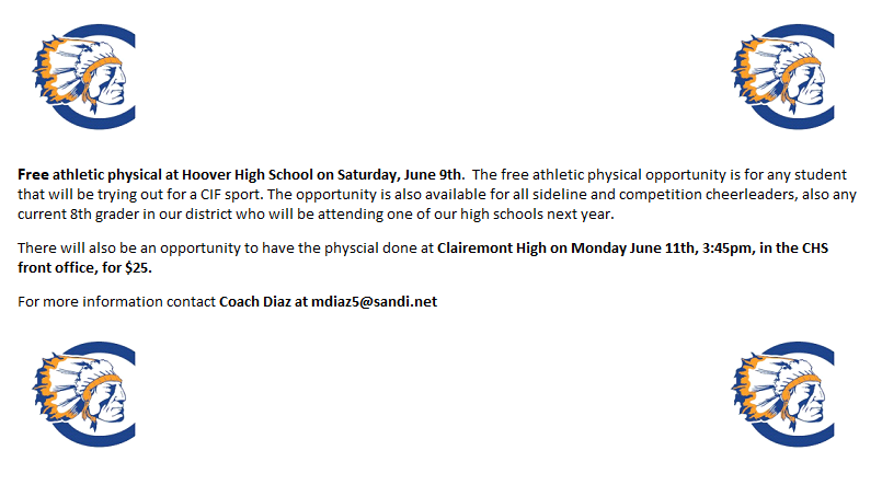 Free Physicals at Hoover High June 9th