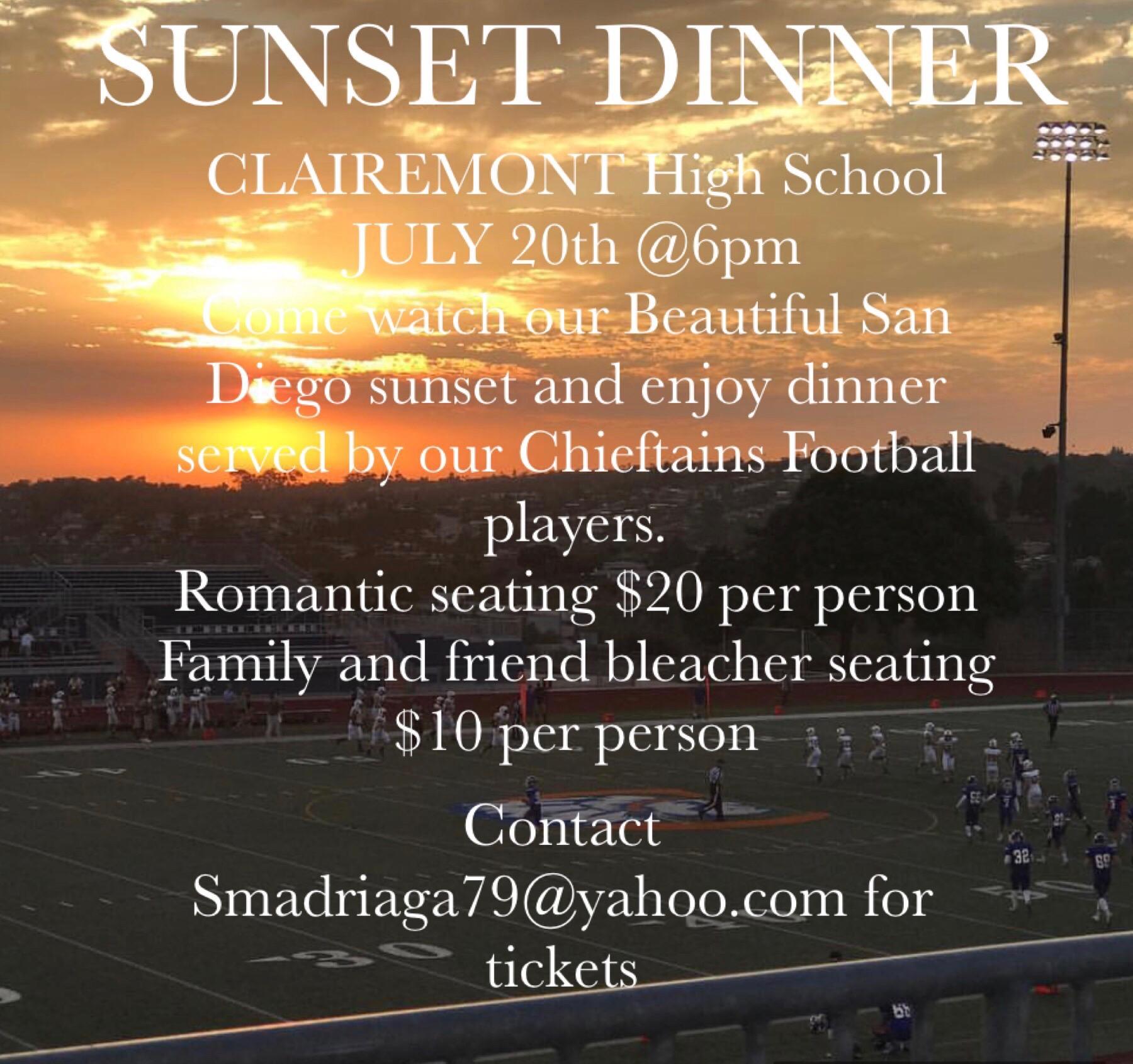 Football Sunset Dinner Fundraiser – July 20th 6pm