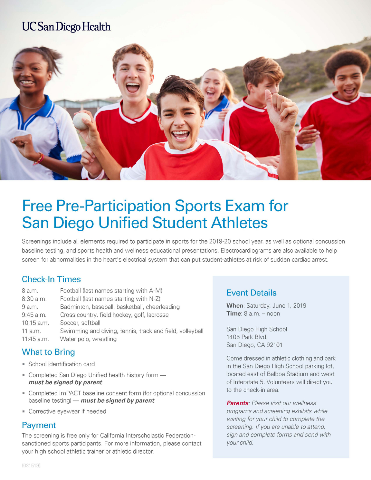 FREE Physical June 1st San Diego High