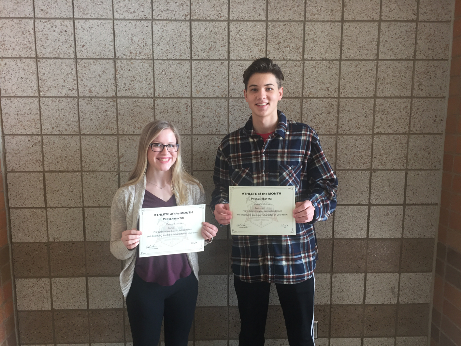 Erickson and Stokman named Student-Athletes of the Month