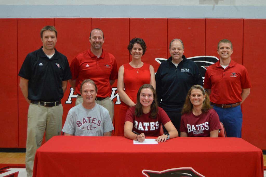 Jenna with her parents, coaches and Park Tudor administrators.