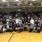 41 Fall Athletes And Coach Simione Honored At Half-Time Of The Varsity Boys Basketball Game