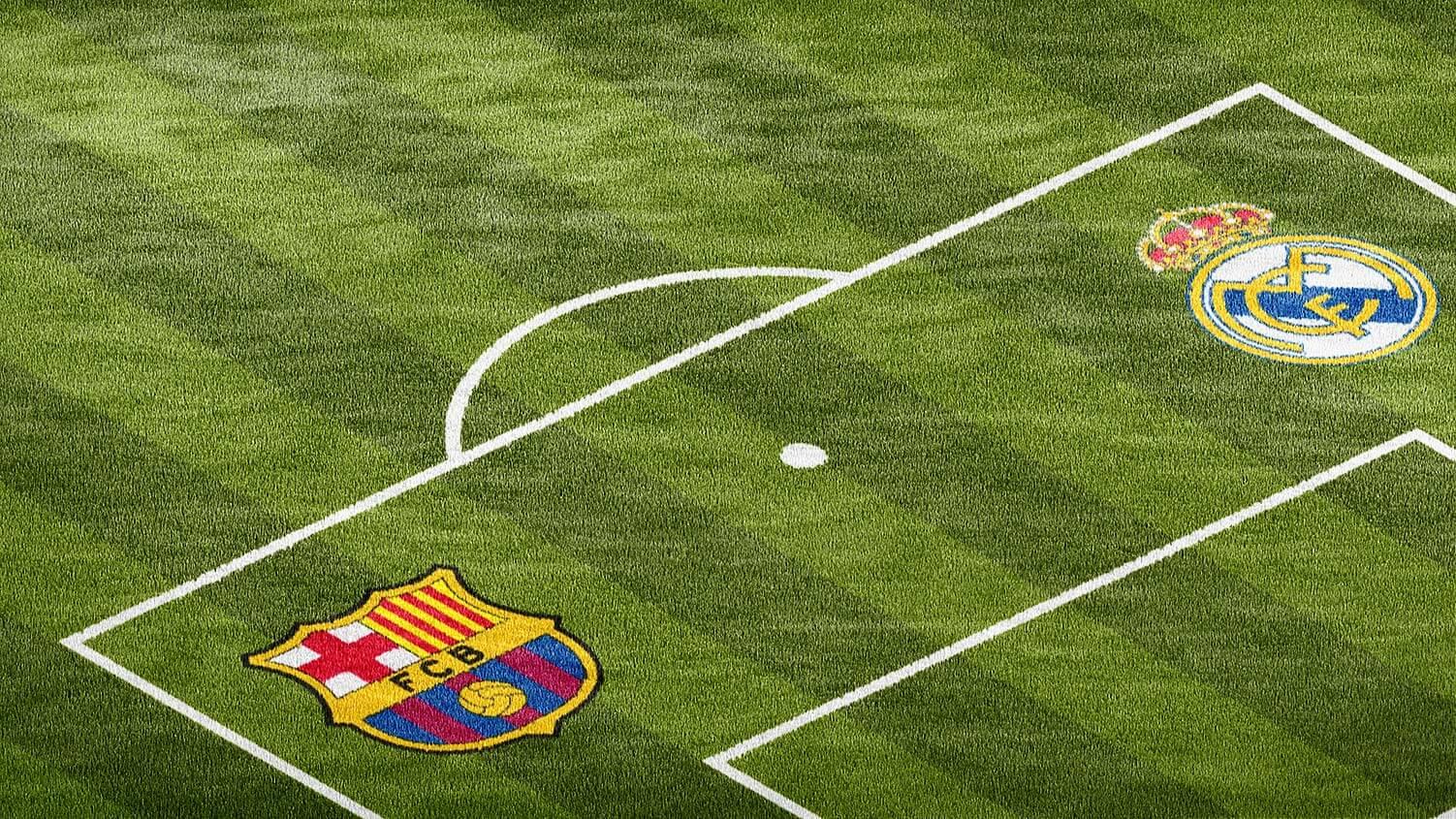 real madrid vs barcelona Football midfield logo photoshop mockup