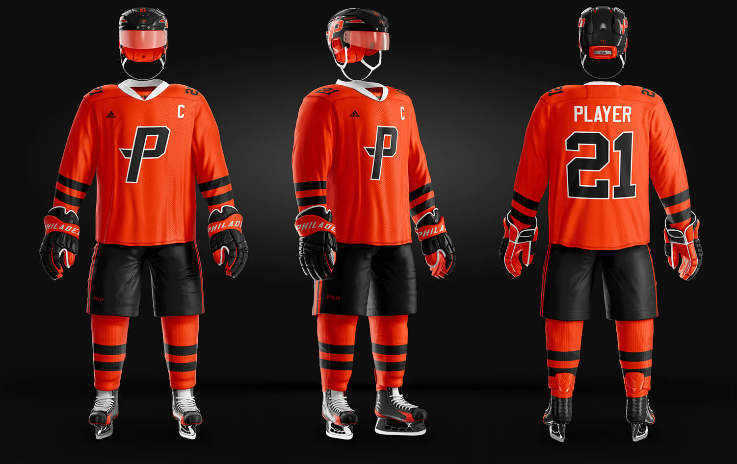 SAMPLES OF FULL HOCKEY UNIFORMS USING THIS TEMPLATE