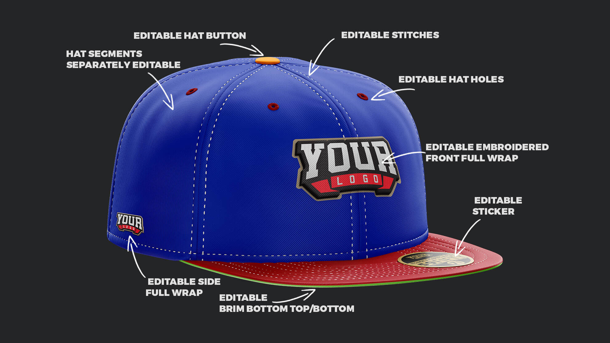 9356dfee126 Fitted   Snapback Hat Mockup – Sports Templates