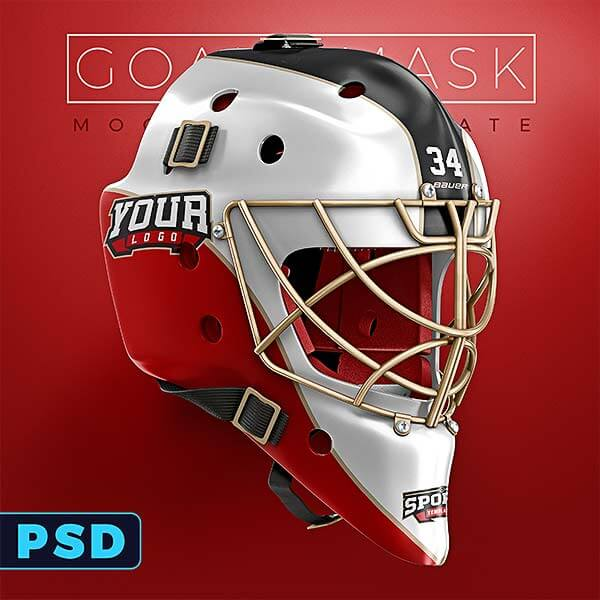 Hockey goalie mask mockup templates sports templates for Bauer goalie mask template