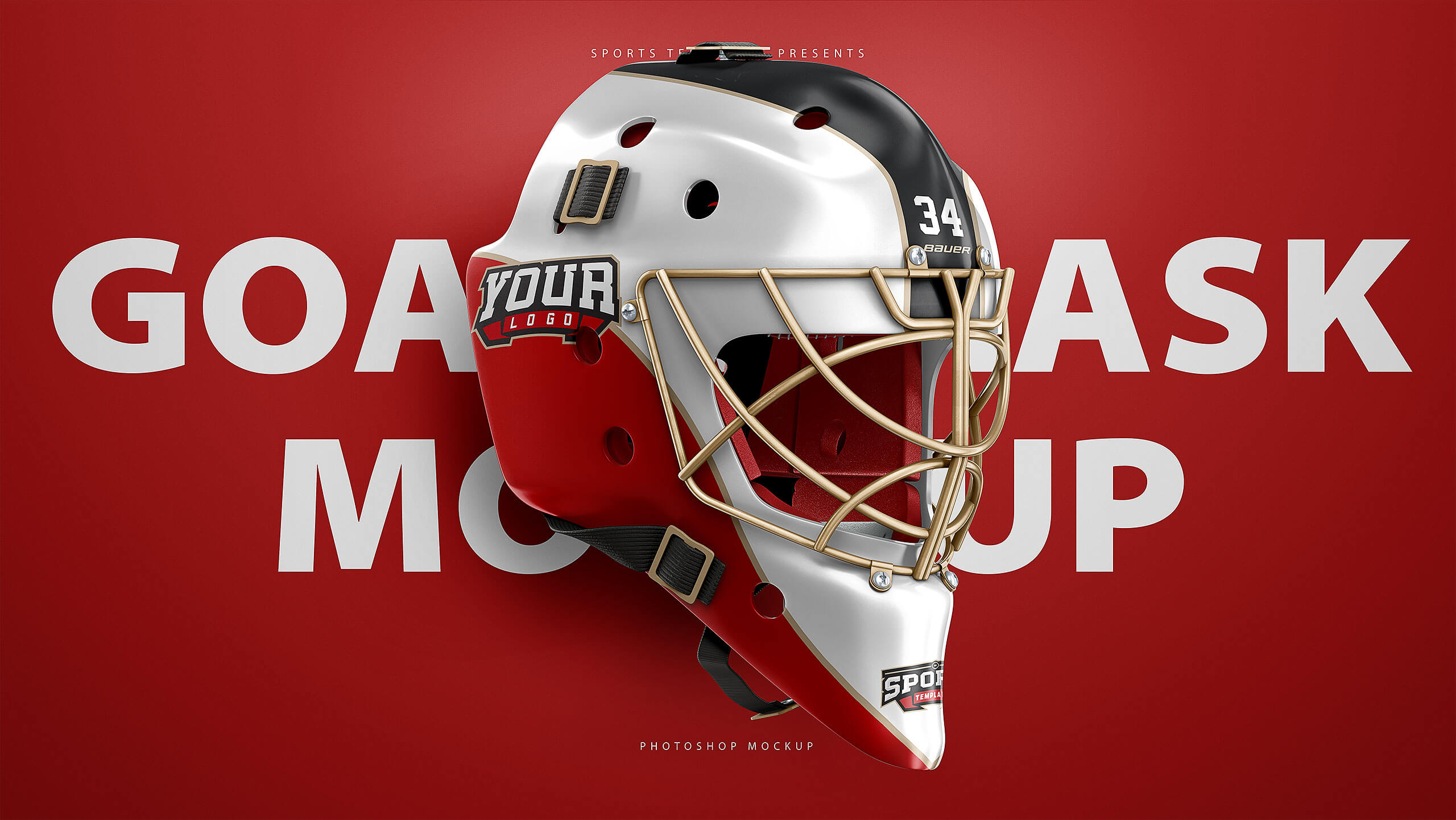 Ultra Realistic Hockey Goalie Mask Mockup