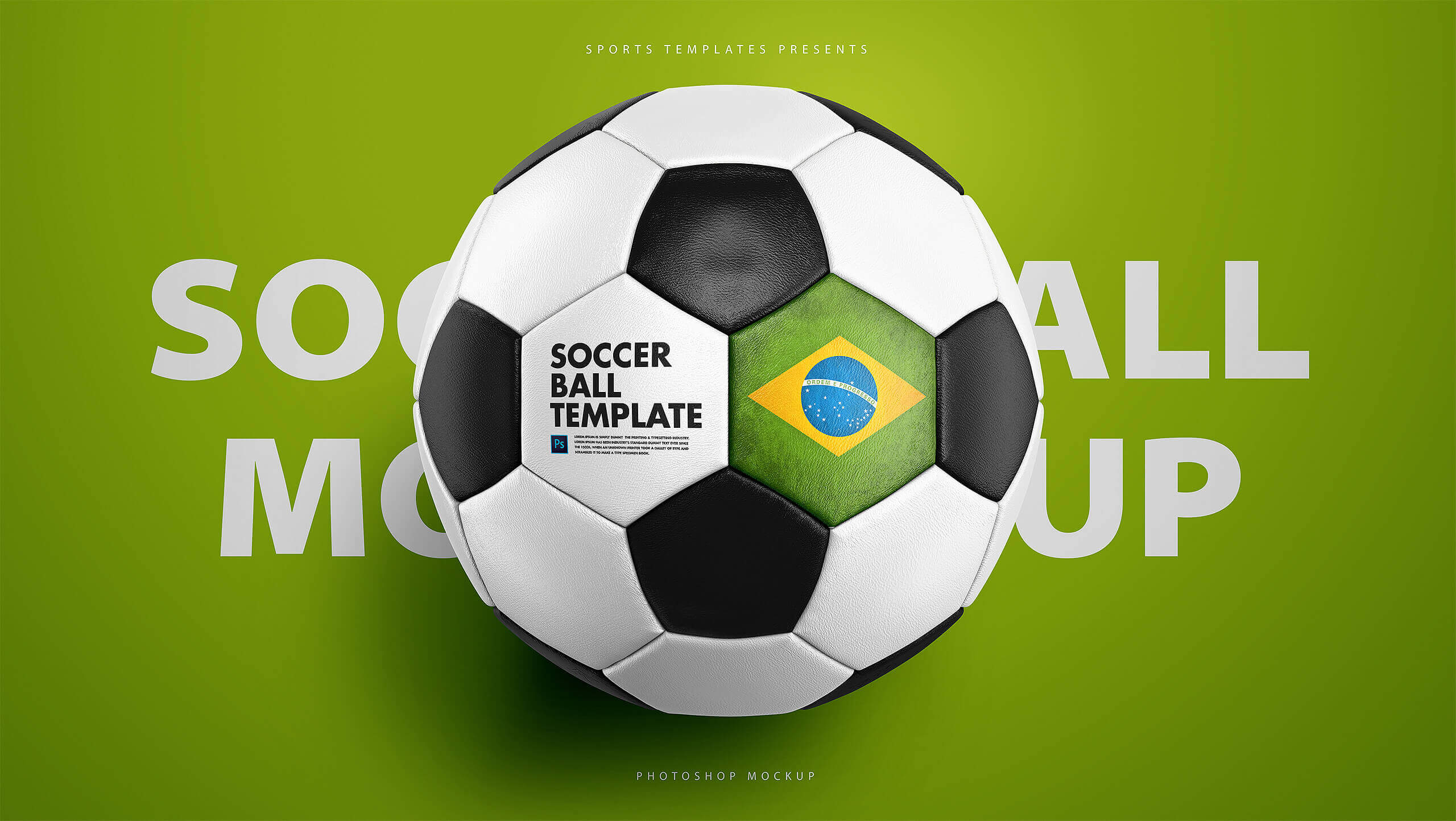 Soccer football ball photoshop template sports templates football soccer ball photoshop mockup maxwellsz