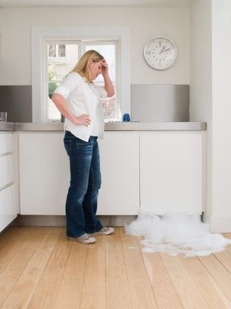 Woman looking at leaking dishwasher
