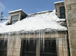 Ice dam on a slate roof