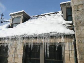 Ice dam on a slate roof