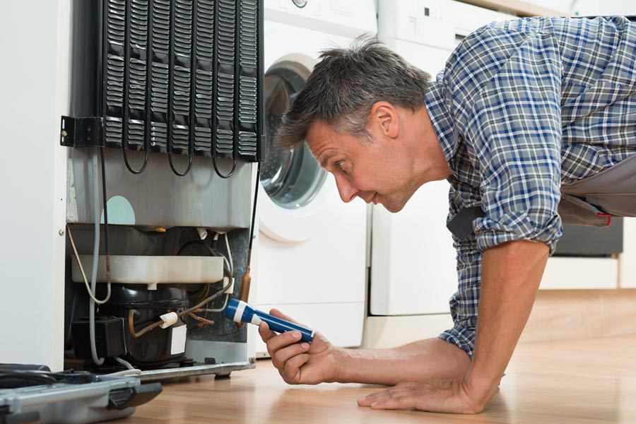 Man looking into the back of a fridge for repair