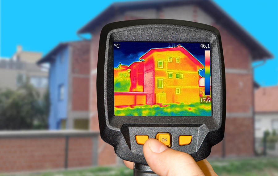 Thermal heat detection device used on detached house.