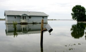 House impacted by an overland flood