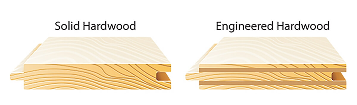 Side by side comparison of two different types of hardwood