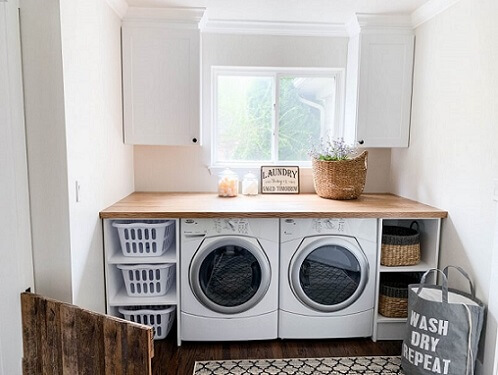 Laundry room with windows